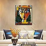 Cuadro de lienzo de estilo europeo Póster de pared Grandes maestros del arte Pablo Picasso Cuadros del cubismo para las habitaciones del hogar Decoración de la pared Mural Marco de 40x60 cm