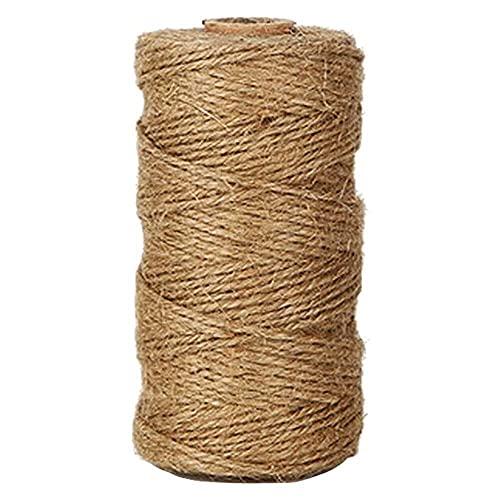 xiaoyu shop Cuerda de yute natural de 100 pies, ideal para manualidades, regalo de Navidad, materiales de embalaje industriales, cuerda duradera para aplicaciones de jardinería, 1 unidad