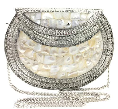 Bolso de nácar MOP de madreperla blanco hecho a mano Bolso de metal monedero bolso de honda Clutch de metal mujer Bolso de fiesta nupcial