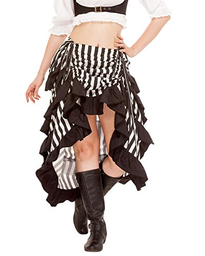 ThePirateDressing Steampunk Gothic Victorian Women's 100% Cotton Cosplay Costume Show Girl High-Low Skirt (Black-White) (XX-Large)