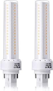 HengBo 2 Pack GX24 Led Light Bulb, 12W G24q/GX24q 4-Pin Base Lamp 3000K Warm White (Remove/Bypass The Ballast)