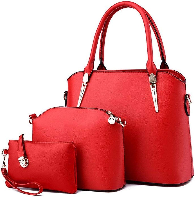 LEEQ Fashion PU Leather Women Handbag+Shoulder Bag+Purse 3pcs Set Tote Handbag Red