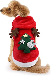 Idepet Dog Cat Christmas Outfit Coat Sweater Santa Claus Cartoon Reindeer Costume Soft Warm Coral Fleece Pet Hoodie Winter Party Dress Up Clothes Jumpsuit Apparel for Puppy
