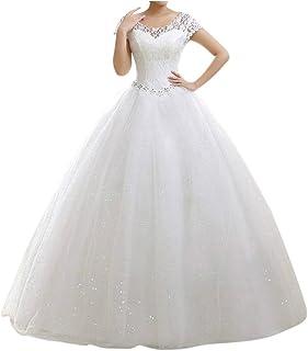 LaoZan Damska sukienka ślubna, okrągła, z krótkim rękawem, długa, koronkowa, suknia wieczorowa