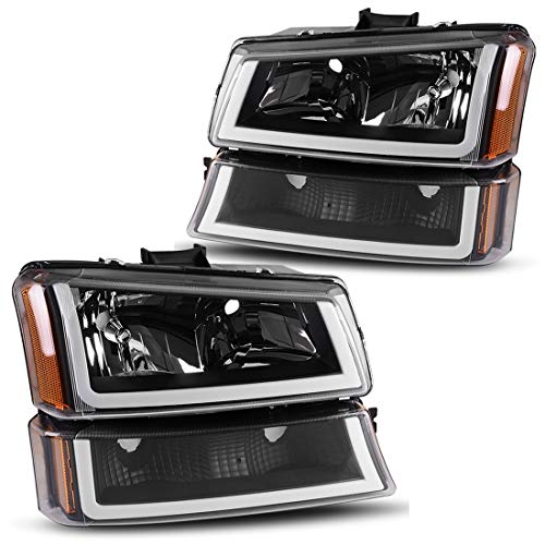 AUTOSAVER88 Fits for 2003 2004 2005 2006 Chevy Avalanche Silverado 1500 2500 3500/2007 Chevrolet Silverado Classic Pickup Headlight Assembly Headlamp,Black Housing with Turn Signal Bumper Lamp