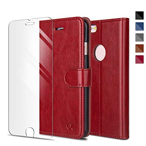 OCASE iPhone 6 Hülle Handyhülle iPhone 6S [ Gratis Panzerglas Schutzfolie ] [Premium Leder] [Standfunktion] [Kartenfach] [Magnetverschluss] Schlanke Leder Brieftasche für iPhone 6/6S Rot