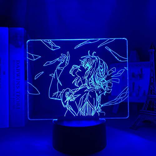 LBINGKJ Luz de Anime 3D para Decoração de Quarto, Luz de LED Anime Evergarden para Decoração de Quarto Violeta Luz Noturna Presente de Aniversário Infantil 3D Lâmpada de Mesa 16 Cores com Controle Remoto