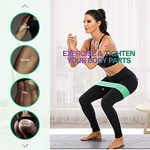 Ihuan Resistance Bands for Exercise & Body Building: 3 Levels Exercise Band   Anti-Slip & Roll Elastic Workout Booty Bands for Women Squat & Glute & Hip Training