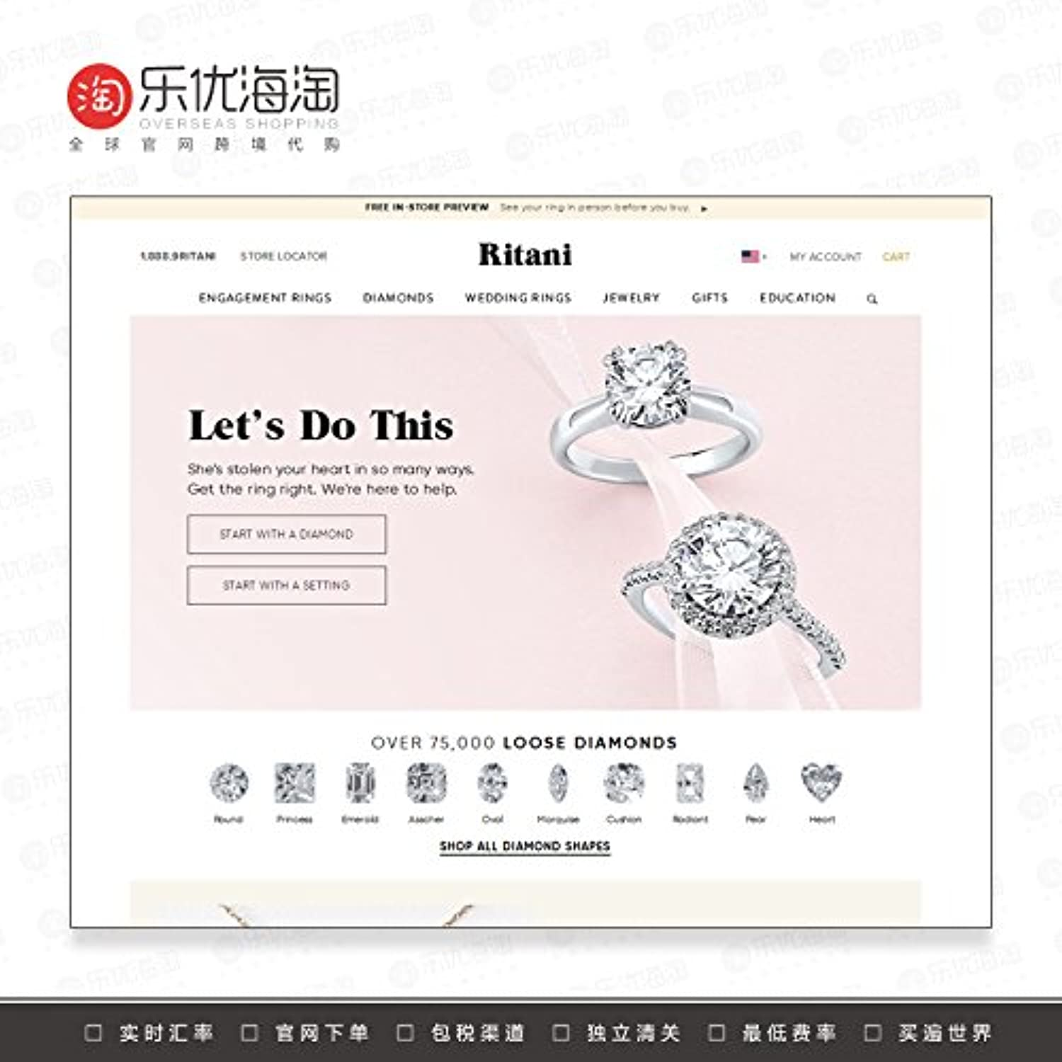 American Men and Women Purchasing an Wedding Engagement Ring Diamond Wedding Ring Jewelry Necklace Pendant Bracelets Earrings Official Website Purchasing