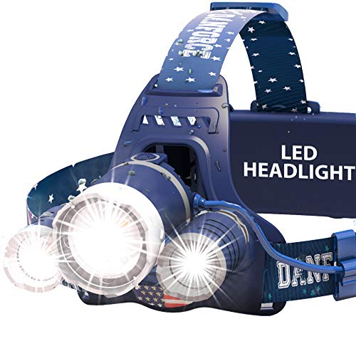 DanForce Bright LED Headlamp – American Made Head Flashlight – 3 Cree LEDs, 4 Modes, 6000 Lumens, Rechargeable Batteries – Sweat-Resistant Band – Dust and Waterproof + FREE Lenses by , (Haki)