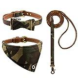 3PCS Bow Tie Dog Collar and Leash Set...