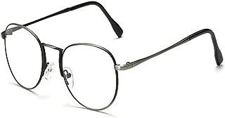 Aiweijia Men Women Vintage Round Frame Computer Glasses Anti UV Blue Light Filter Clear Lens Eyewear