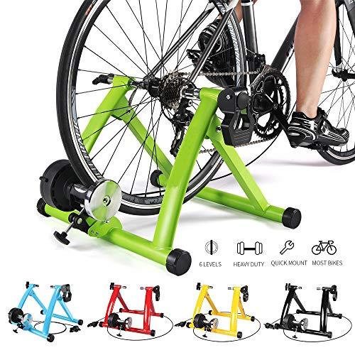 HWHSZ Magnetic Turbo Trainer, Bike Trainer Stand, Indoor Magnetic Bike Trainer Stand mit 6 Widerstandsstufen Faltbarer Fahrradträger, 20-28 Zoll, für Straßen- und Mountainbikes,Green