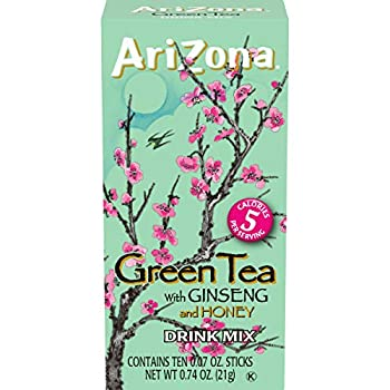 AriZona Zero Sugar Green Tea with Ginseng & Honey Powdered Drink Mix Sticks 10 ct Box  Pack of 12