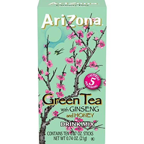 AriZona Zero Sugar Green Tea with Ginseng & Honey Powdered Drink Mix Sticks, 10 ct. Box (Pack of 12)