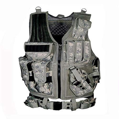 DDSP Ejército Equipo Táctico Militar Chaleco Molle Caza Armadura Chaleco Airsoft Gear Paintball Combate Chaleco Protector para CS Wargame Waistcoat (Color : ACU, Size : Einheitsgröße)