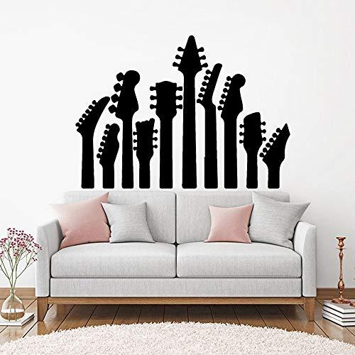 Rock pop gitaar vinyl familie muurtattoo muziek gitaar muziekinstrument muursticker gitaar winkel decoratie poster muurschildering 50.4x36cm