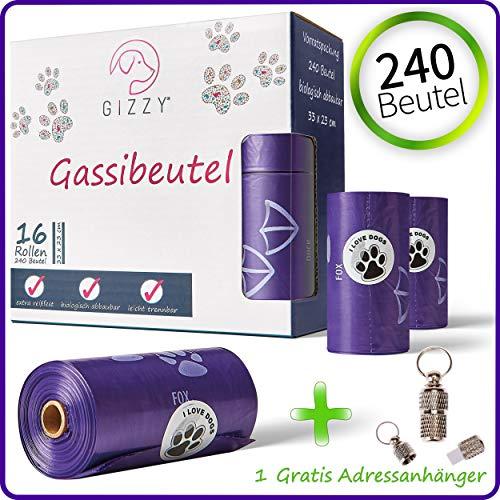 GIZZY® Hundebeutel Hundetüten Hunde Kottüten Beutel Hundebeutel bioloigisch abbaubar Hundetüten biologisch abbaubar Hunde Beutel Bio