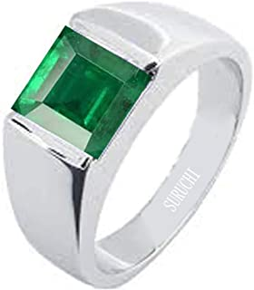 Suruchi Gems & Jewels Natural Certified 3.25 Ratti to 10.25 Ratti or 3 Carat to 9.5 Carat Emerald (Panna) 925 Sterling Silver Ring for Men and Women