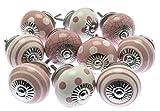 Lot de 10x Vieux rose et blanc pois et à rayures et boutons de placard en céramique craquelé (Mg-730)–'Mango Arbre' TM Enregistrée Produit