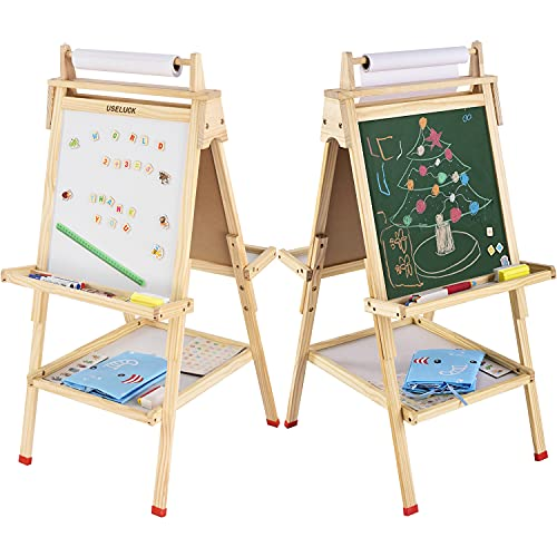 USELUCK Kids Easel with Paper Roll,Double-Sided Drawing Easel-Dry Erase Board & Chalkboard...
