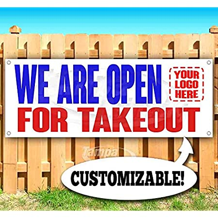 Non-Fabric We are Open for Takeout Extra Large 13 oz Banner Heavy-Duty Vinyl Single-Sided with Metal Grommets