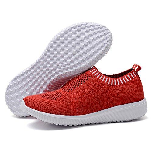 TIOSEBON Women's Athletic Walking Shoes Casual Mesh-Comfortable Work Sneakers 6.5 US Red