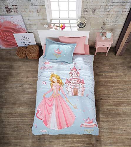 ZIRVEHOME Kinder Bettwäsche 135x200 cm, 3 teilig Set, Prinzessin Muster, 100% Baumwolle, Mit Reißverschluss, Crown