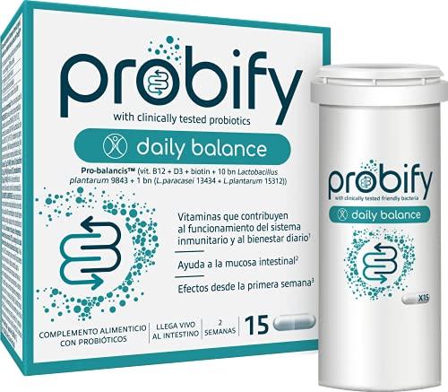 Probióticos Probify Daily Balance, Sistema inmunitario, con Lactobacillus plantarum, L. paracasei y vitaminas D, B y biotina, clínicamente testados, 15 cápsulas