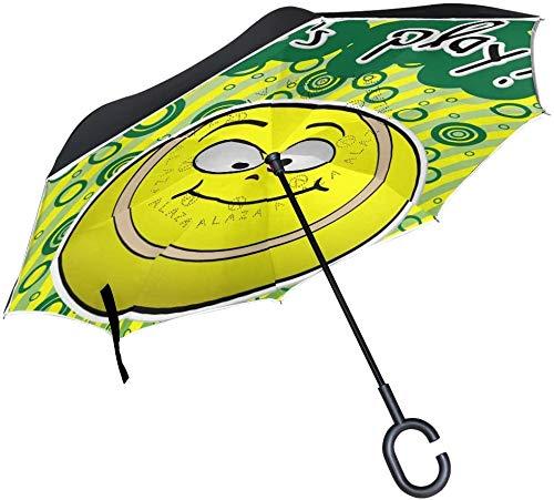 Doppellagige umgekehrte Regenschirme lustig niedlich Emoji Emoticon umgekehrter Regenschirm Winddicht wasserdicht für Auto Outdoor Reisen Erwachsene Männer Frauen