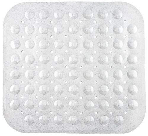 Badmat, douchemat met noppen in wit, zwart, grijs, melange, transparant-grijs en transparant-blauw, ca. 53 x 53 cm en ca. 70 x 38 cm van Brandseller