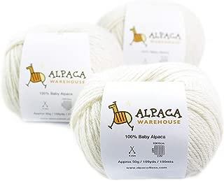 100% Baby Alpaca Yarn Wool Set of 3 Skeins Worsted Weight (Ivory)