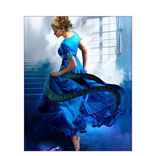 mlpnko Digitale Malerei DIY blauen Rock Mädchen Zeichnung Stoff Hochzeit Dekoration Kunst Bild Geschenk 40X50cm Rahmenlos