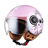 LYJNBB Halber Motorradhelm für Damen, offenes Gesicht Vintage Harley Helme mit Brille...