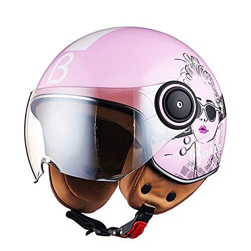 LYJNBB Halber Motorradhelm für Damen, offenes Gesicht Vintage Harley Helme mit Brille Schnellverschluss für Cruiser Scooter ECE Approved...