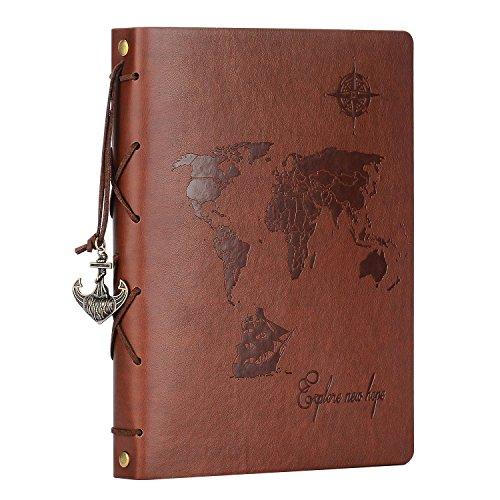 ZEEYUAN Álbum Fotos 22x27.3cm,Scrapbook Cuero Retro Viaje Mapa Mundial Libro Álbum Scrapbooking DIY Sketchbook Cumpleaños San Valentín Regalos Aniversario para Padre Novio …