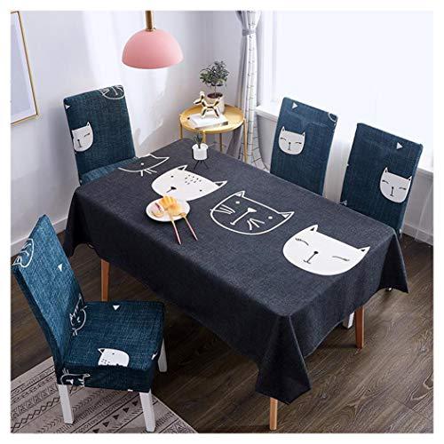 Mantel Rectangular Impermeable Antimanchas Algodón Lino Mantel de Mesa Decoración para Cocina Comedor Fiesta Mantel Silla Juego de Tela Gato de Dibujos Animados Dos Fundas para sillas