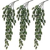 Aisamco 3 Stück Künstliche Hopfen Blume Vine Garland Pflanze Gefälschte Hängende Rebe Hopfen Faux Hopfen Künstliche Hängende Pflanzen in Mattgrün 29,5'Länge für Indoor Outdoor Blumen Dekoration