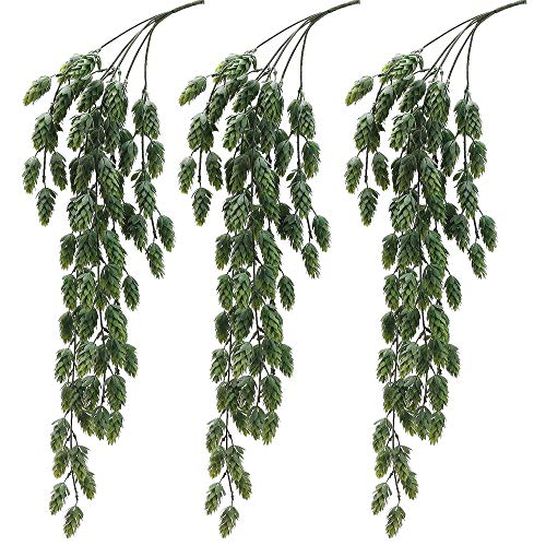 Aisamco 3 Pcs Artificial Hops Flower Vine Garland Plant Fake Hanging Vine Hops Faux hops Artificial Hanging Plants in Frosted Green 29.5' in Length for Indoor Outdoor Front Porch Flower Decor