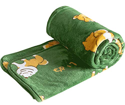 FUYU Shiba Inu Throw Blanket Puppy Cartoon Dog Warm Fuzzy Soft Blanket