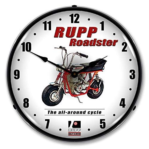 """Rupp Roadster Minibike Motorized Cycle Red Wall Clock 14"""" Lighted Backlit Made USA Warranty"""