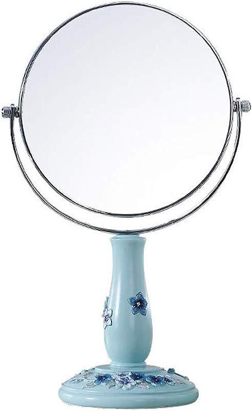 C Q CQ European Desktop Mirror Creative Simple Double Sided Blue Mirror Magnified Princess Vanity Mirror Carved Mirror Size M
