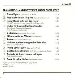 CD-Rückseite von - Traumflüge - Margot Werner singt Robert Stolz