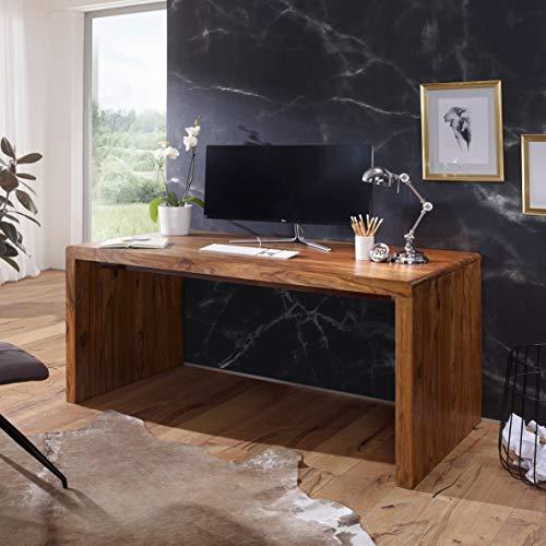 FineBuy Schreibtisch Massiv-Holz Sheesham Computertisch 140 cm breit Echtholz Design Ablage Büro-Tisch Landhaus-Stil Natur-Produkt Büro-Möbel dunkel-braun Modern Büroeinrichtung rechteckig 76 cm hoch