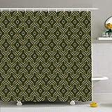 Duschvorhang Set mit Haken Olivgrüne Architektur Verbesserte marokkanische viktorianische Muster Symmetrie Vintage Revival Texturen Wasserdichtes Polyestergewebe Bad Dekor für Badezimmer