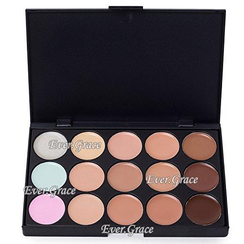 ICYCHEER Professional Correcteur de teint Palette de 15 couleurs Anti-cernes Palette de maquillage pour le visage avec pinceau de maquillage ovale (15 couleurs) (02)