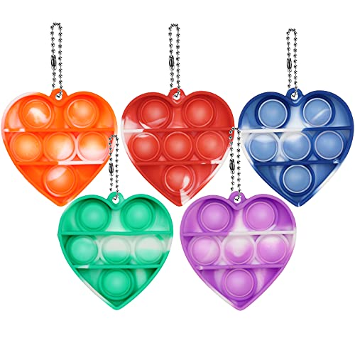5 Pcs Mini Pop Fidget Keychain Toy, Push Bubble Simple Sensory Fidget Toy, Squeeze Sensory Hand Keychain Toy, Silicone Stress Reliever Toy for Kids,Family,Students and Friends (5pack Mini Heart)