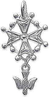 So Chic Jewels - 925 Sterling Silver Dove Malta Huguenot Cross Pendant