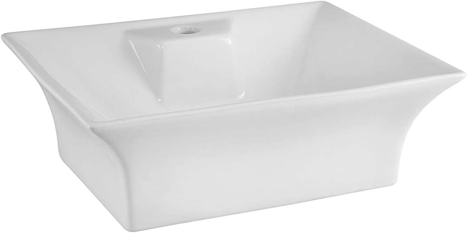 Premier NBV005 Flared Rectangular Vessel, White, 490 mm