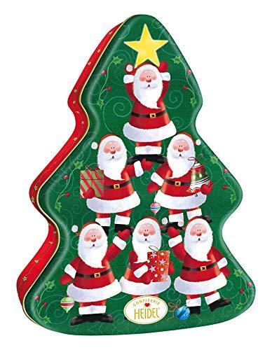 Heidel Confiserie Albero di Natale in Metallo Apribile Decorato a Rilievo con Cioccolatini Ripieni di Crema Pralinata - 1 x 108 Grammi